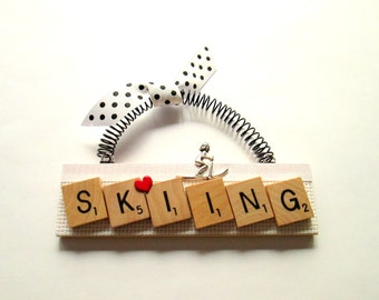 Skiing Scrabble Tile Ornament