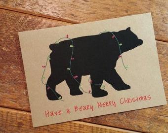 bear christmas card etsy