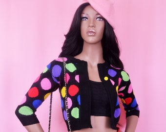 90s Vintage Colorful Polka Dot Cropped Sweater XS