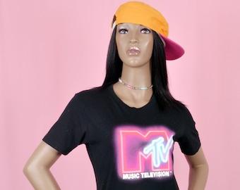 Vintage jaren 90 MTV Tee Shirt zwart korte mouwen Top klein