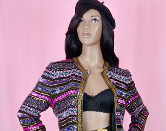 80s Vintage Pink Sequins Jacket Pink Purple Stripe Silk Blouse Small