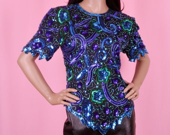 80s Vintage Blue Green Sequins Silk Blouse Small