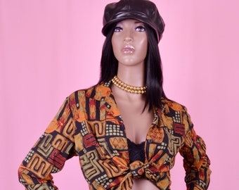 90s Vintage Blouse Abstract Print Shirt Tribal Print Earth Tone Top S/M