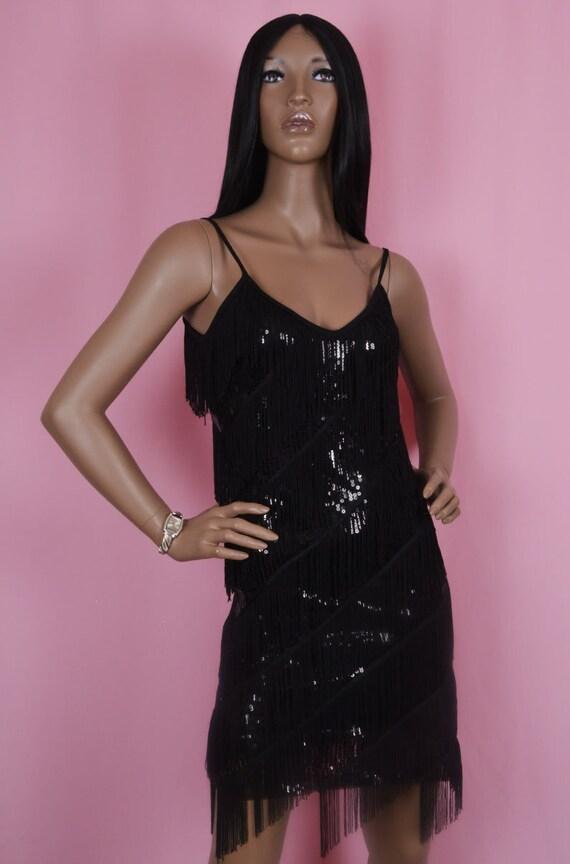 80s Vintage Sequins Dress, Black Sequins Dress, Fl