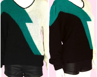 Green Sweater Vintage 80s Pullover Sweater Green Black Ivory Print Large