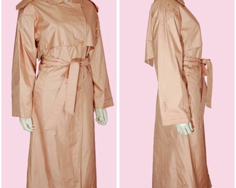 Pink Trench Coat Vintage 80s Dusty Rose Mauve Pink Jacket Size 6