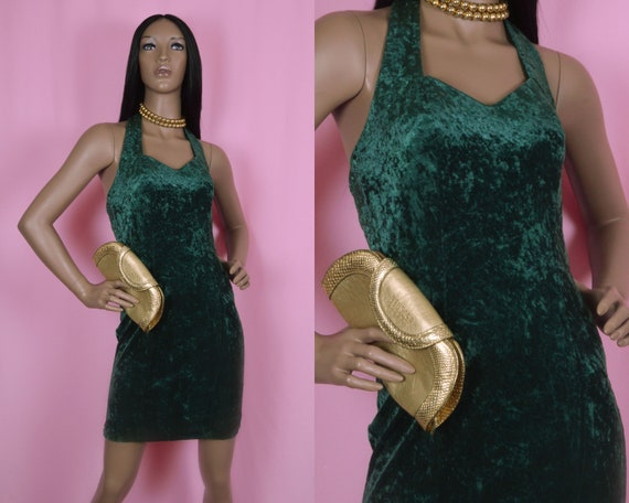 90s Vintage Velvet Dress, Green Velvet Dress, Halt