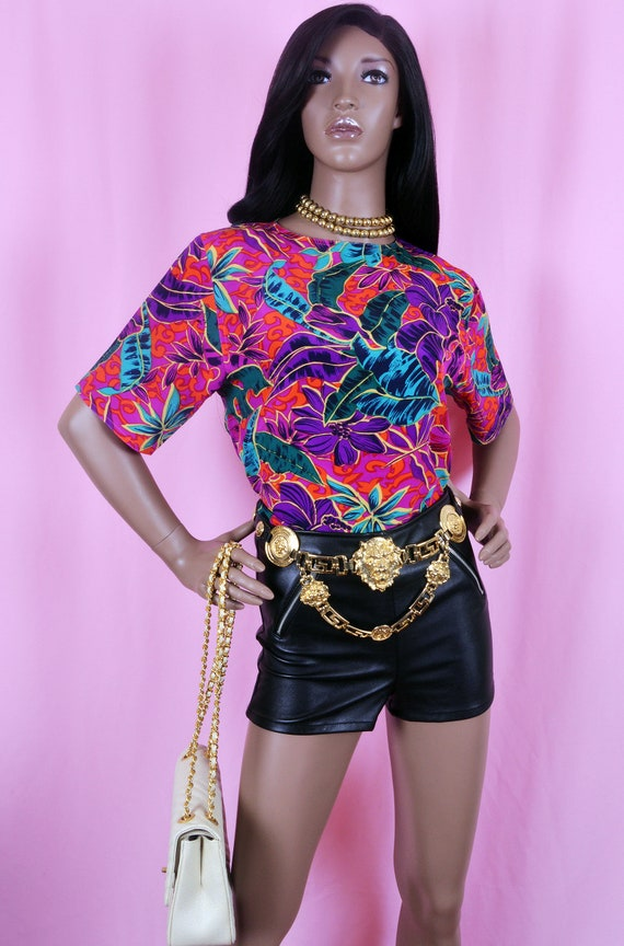 90s Vintage Pink tropical Print Blouse Small
