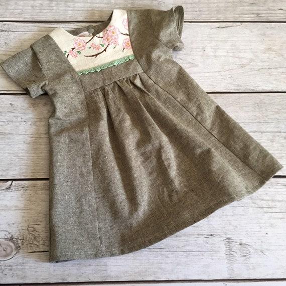 30bbd4e1fb 6-12 Month Linen Dress Cherry Blossom Dress Vintage