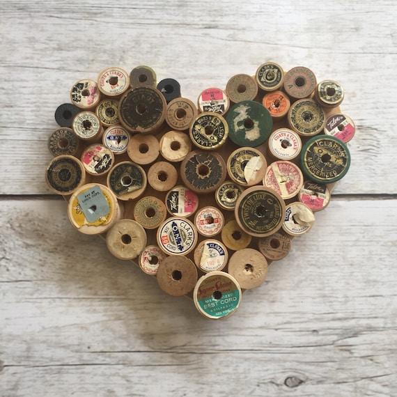 Sewing Gift, Farmhouse Heart Decor, Sewing Room Decor, Spool Heart, Primitive Heart, Gift for Mom, Craftroom Decor, Gift for Crafter