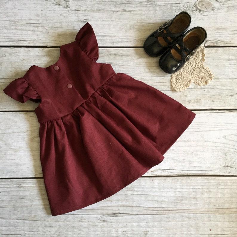 c23a1e07fc33 3-6 Month Christmas Dress Burgundy Baby Dress Vintage Lace