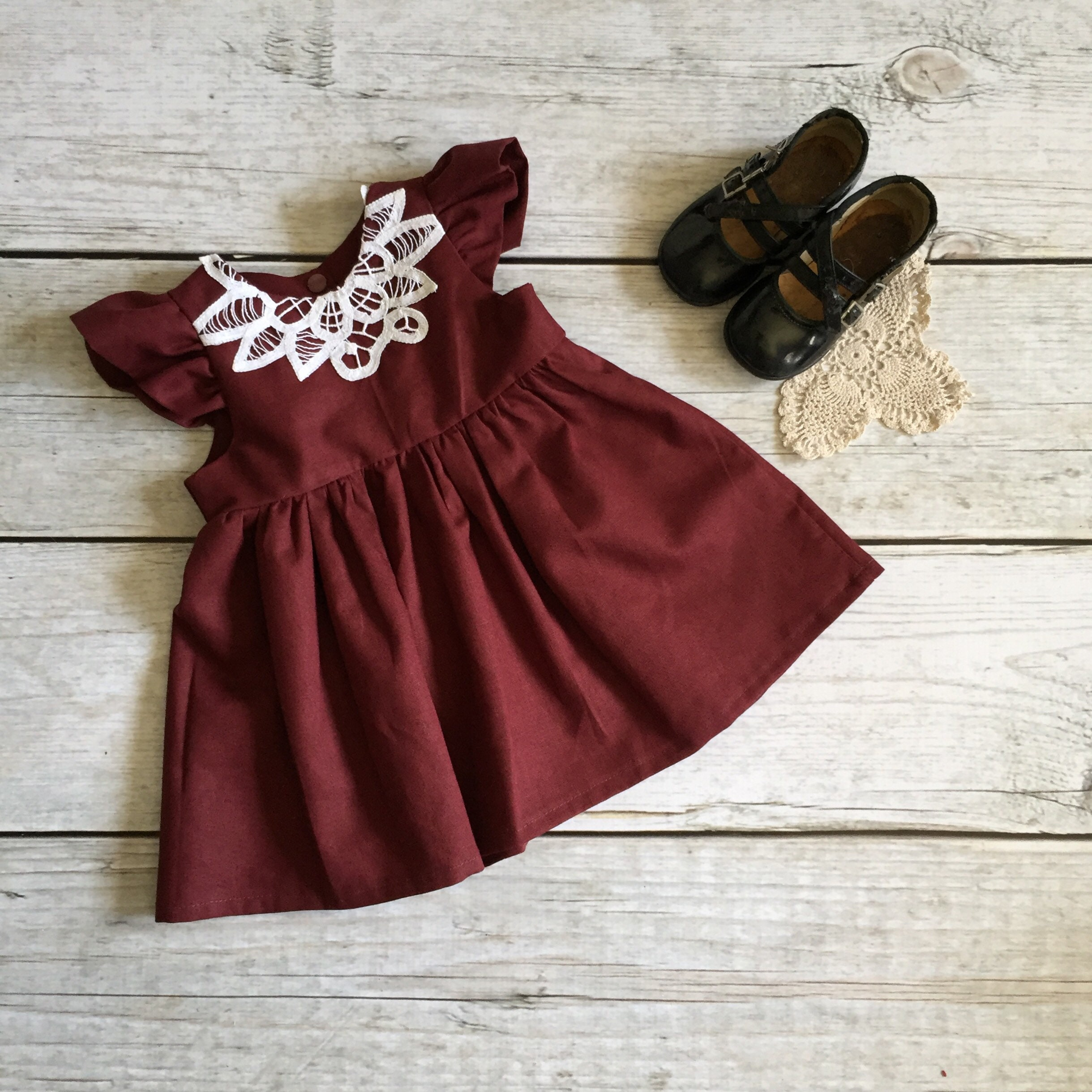 d060bc344535 3-6 Month Christmas Dress Burgundy Baby Dress Vintage Lace   Etsy