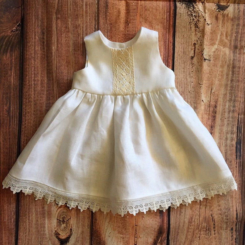 6435ab73e383 Lace Christening Gown Infant Linen Baptism Dress Blessing