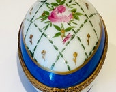 Limoges Egg Shape Box with Pink Rose Retired Mint
