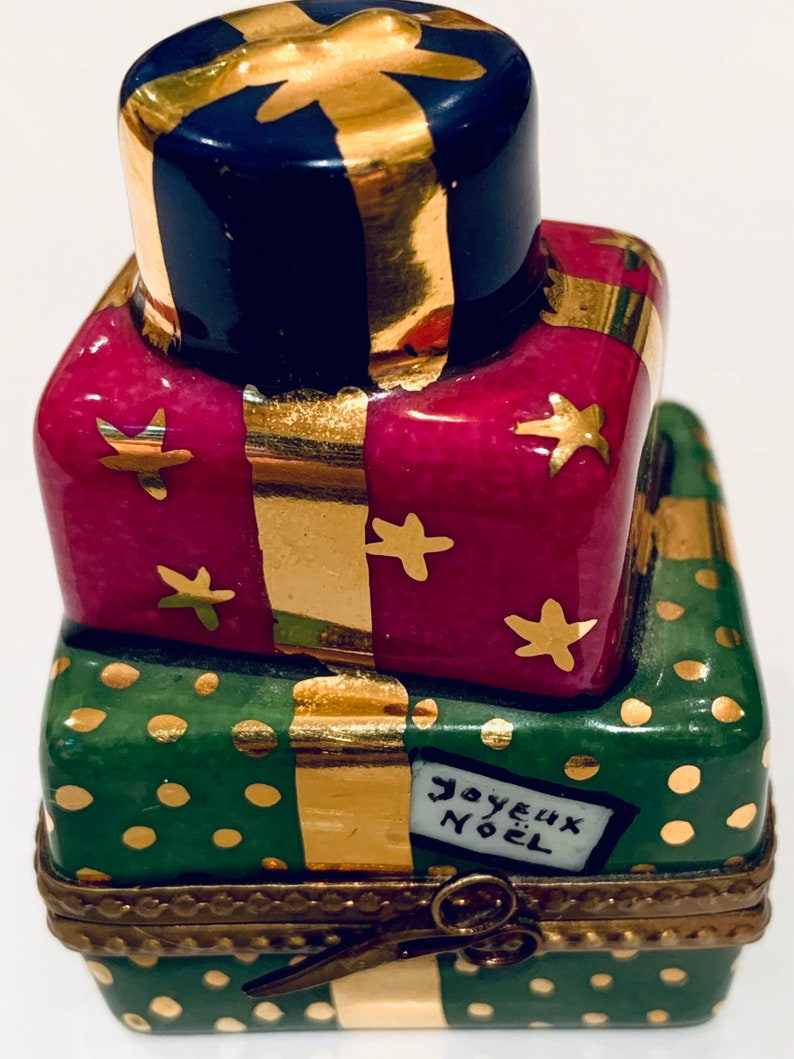 Limoges Stacked Christmas Presents Box with a Teddy Bear inside and Joyeux Noel on the Boxes...Retired...Mint!