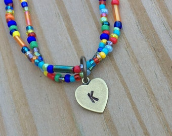 any letter CUSTOM INITIAL ANKLET colorful anklet whimsy anklet beaded anklet rainbow heart charm heart anklet personalized gift for her