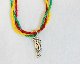 PARROT CHARM ANKLET colorful anklet Rasta colors tropical anklet bird charm bird anklet beachy anklet yellow anklet red anklet green anklet