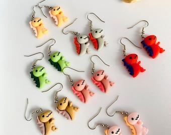 Black and Green Dinosaur Earrings  Kitschy  Kitsch  90\u2019s