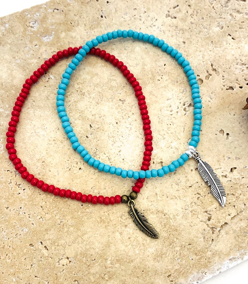 Feather Charms BFF ANKLET 2pc Set seed beads