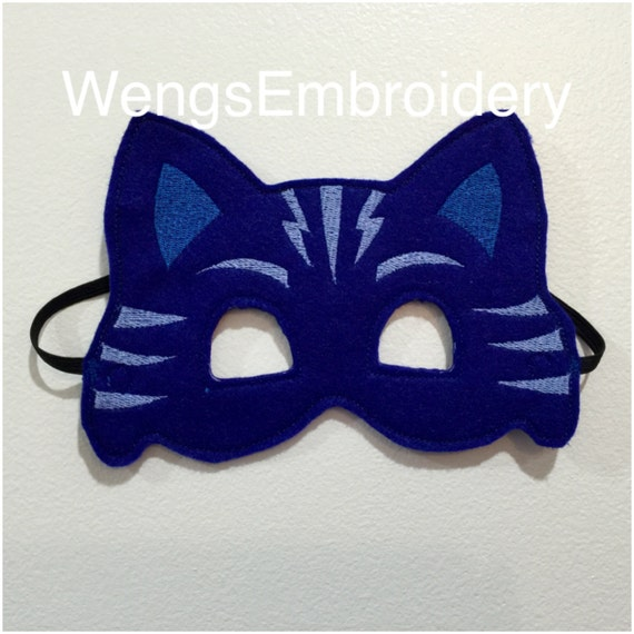 pj masks catboy inspired mask in the hoop embroidery design etsy