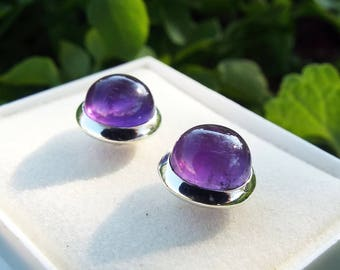 Amethyst Earrings Studs Sterling Silver 925 Handmade Gemstone Jewelry