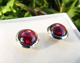 Garnet Earrings Studs Sterling Silver 925 Handmade Gemstone Jewelry
