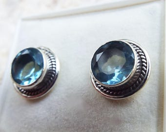 Aquamarine Earrings Studs Sterling Silver 925 Handmade Jewelry