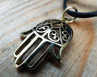 Fatima Hand Hamsa Pendant Handmade Bronze Necklace Jewelry