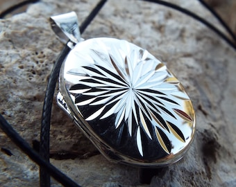 Locket Pendant Sterling Silver 925 Flower Floral Handmade Jewelry