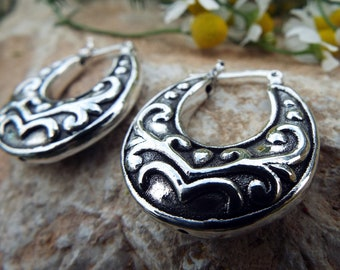 Bali Hoop Earrings Sterling Silver 925 Balinese Tribal Handmade Jewelry