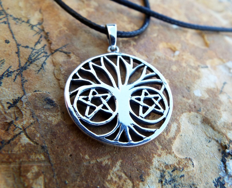 Tree of Life Pendant Silver Handmade Necklace Pentagram Star Witch Wicca  Protection Celtic Sterling 925 Gothic Dark Jewelry Symbol Nature