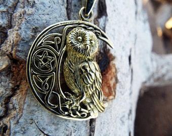 Owl Moon Pendant Pentagram Handmade Bronze Necklace Wisdom Jewelry