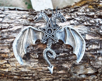 Dragon Pendant Pentagram Handmade Necklace Two-Headed Dragon Gothic Wiccan Jewelry