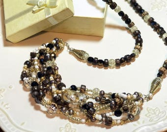 Wood and Glass Beaded Handmade Necklace with Freshwater Pearls