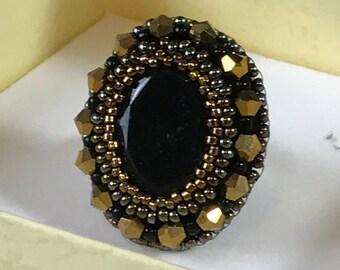 Handmade Jet Black Cabochon Cocktail Ring