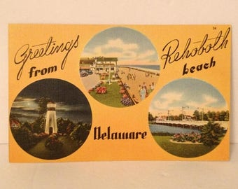 ON SALE 1940's Greetings from Rehoboth Beach Delaware Vintage Old Linen Souvenir Postcard