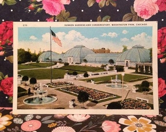 Lovely Antique Postcard of Flower Gardens and Conservatory at the Soldiers Home in Dayton Ohio