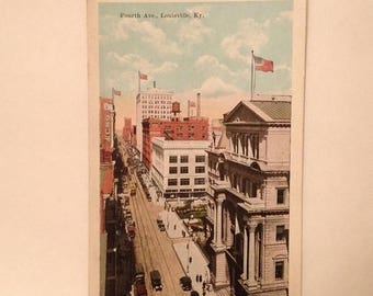 ON SALE Louisville Kentucky KY -- Downtown View Fourth Avenue -- Old Vintage Antique Early 1900's Souvenir Postcard Unused