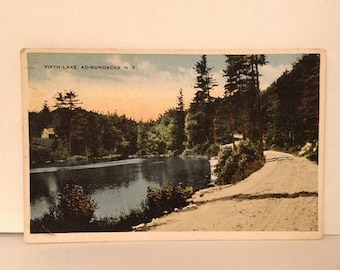 ON SALE 1915 Adirondacks New York NY -- Fifth Lake -- Old Vintage Antique Early 1900's Souvenir Postcard Mailed Stamped