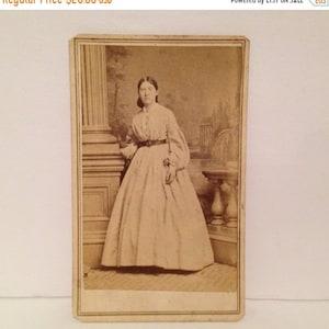 Old Antique Vtg 1860s CDV Photograph Civil War Era Young Woman Standing Nice