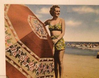 ON SALE Vintage 1950's Pin-Up Girl Bathing Suit Beach Beauty Umbrella Ocean Linen Old