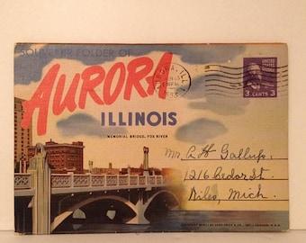 ON SALE Aurora Illinois IL 1953 Old Vintage Linen Postcard Souvenir Booklet 1950's Mailed Stamped Postmarked