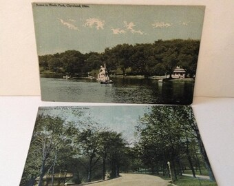 ON SALE Wade Park Cleveland Ohio OH -- Two Old Antique Vintage Postcards 1910-1930's