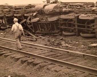 ON SALE Old Photograph Snapshot of a Derailed Train Accident Crash Vintage