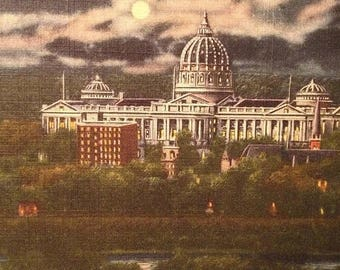 ON SALE Harrisburg Pennsylvania PA State Capitol Building at Night Old Vintage 1940's Linen Postcard