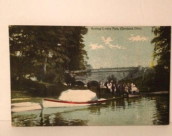 ON SALE Cleveland Ohio OH Gordon Park Boating Early 1900's Vintage Old Antique
