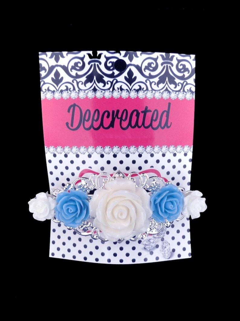 Hair Accessories Flower Hair Clip Silver Barrette French Barrette Flower Barrette Ivory /& Blue Rose Vintage Style
