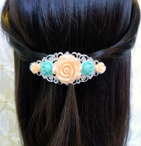 Fleur pêche Barrette Style Vintage Rose accessoire fleur de pêche bleu Aqua Clip filigrane Barrette cheveux accessoires Boho accessoires pour cheveux