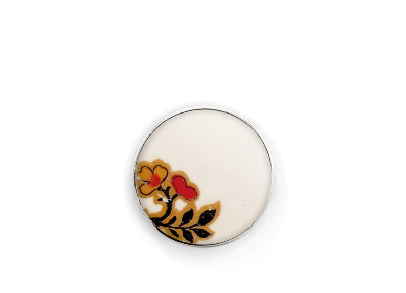 Pins Personalized gift Boho chic Brooch Ceramics and pottery Chinese porcelain Feminist pin Flower brooch Vintage White flat brooch