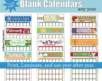 Printable Blank Calendars For Any Year